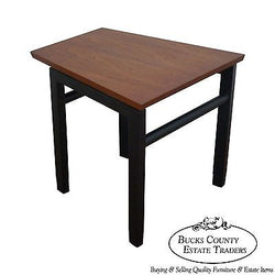 Edward Wormley Dunbar Mid Century Modern Trapezoidal Black & Walnut Side Table