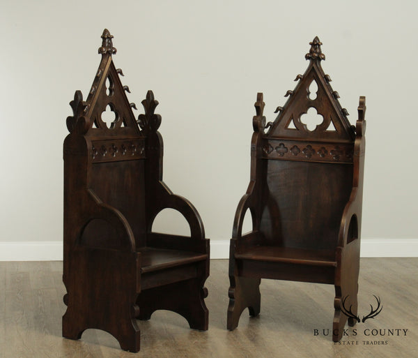 Antique American Gothic Revival Pair Oak High Back Armchairs