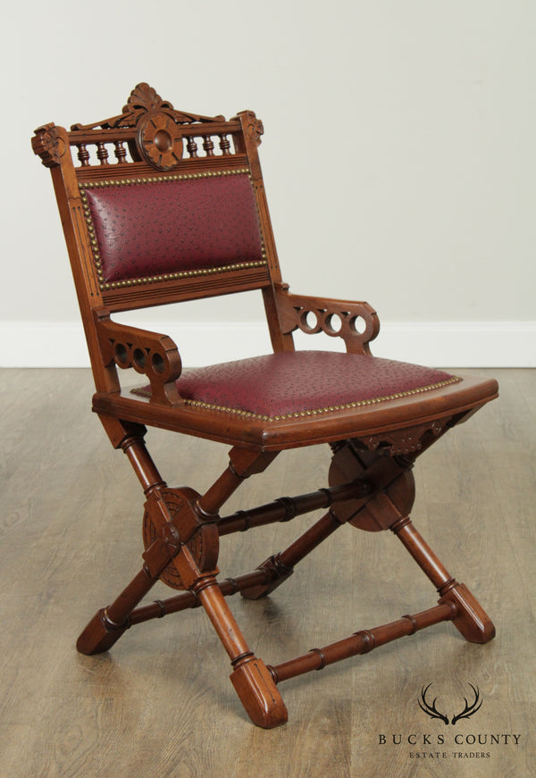 Campaign Style Antique 19th Century Aesthetic Walnut X Base Desk Chair