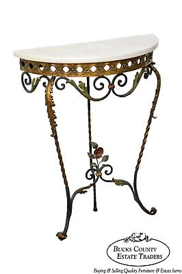 Art Deco Wrought Iron Demilune Marble Top Console
