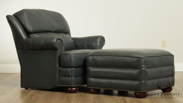 Pendragon Slate Blue Leather Club Chair with Ottoman