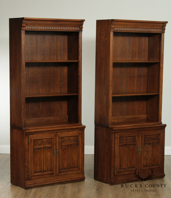 Ethan Allen Royal Charter Oak Pair Bookcase Cabinets