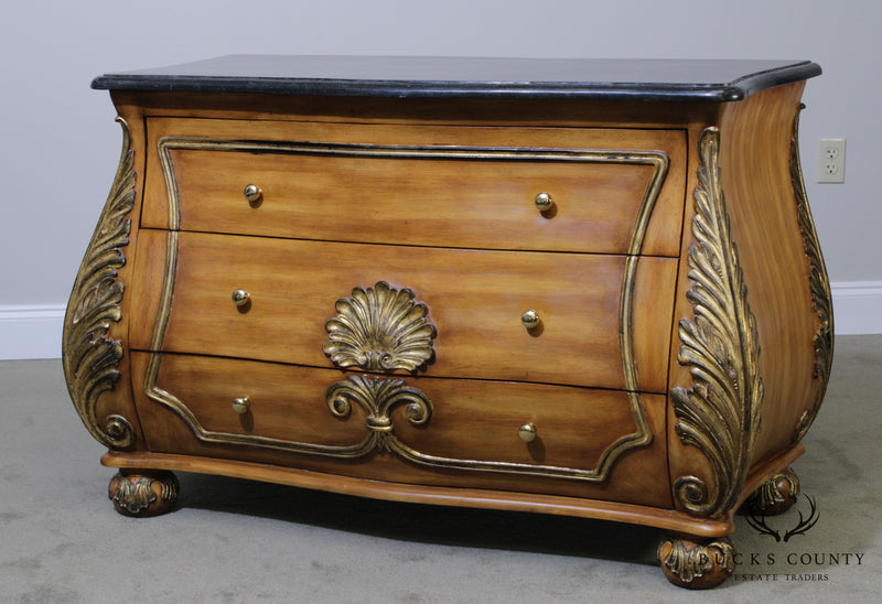 Rococo Style Bombe 3 Drawer Tessellated Marble Top Chest