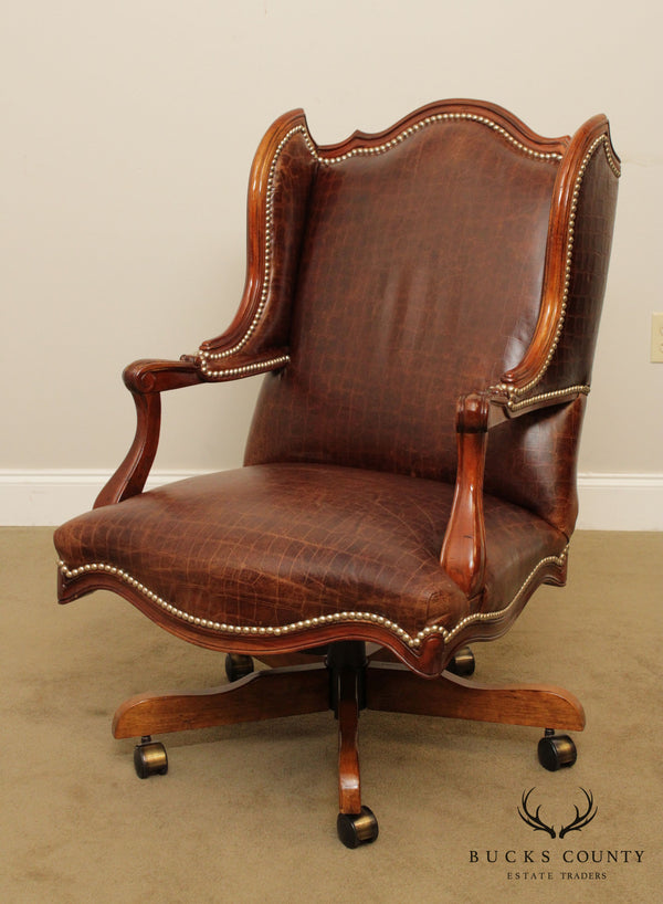 Century Furniture Faux Alligator Embossed Brown Leather Desk Chair