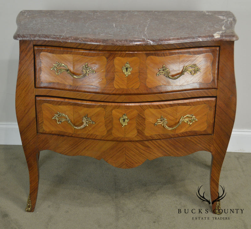 French Louis XV Antique 19th Century Marble Top Bombe Commode Chest
