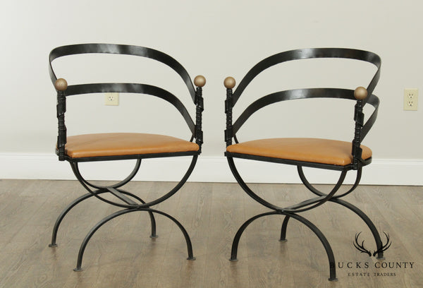 Mid Century Custom Forged Steel Pair Curved Back Armchairs