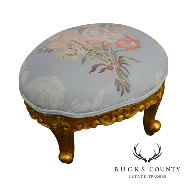 Rococo Gilt Wood Small Oval Foot Stool