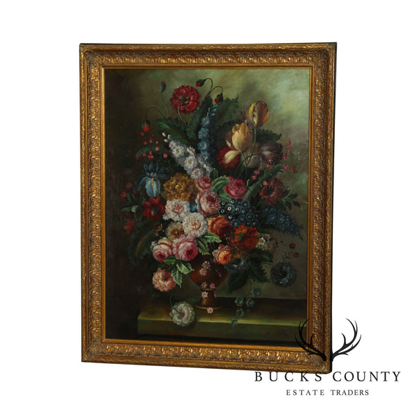 Still Life With Flowers - Framed Oil Painting On Canvas