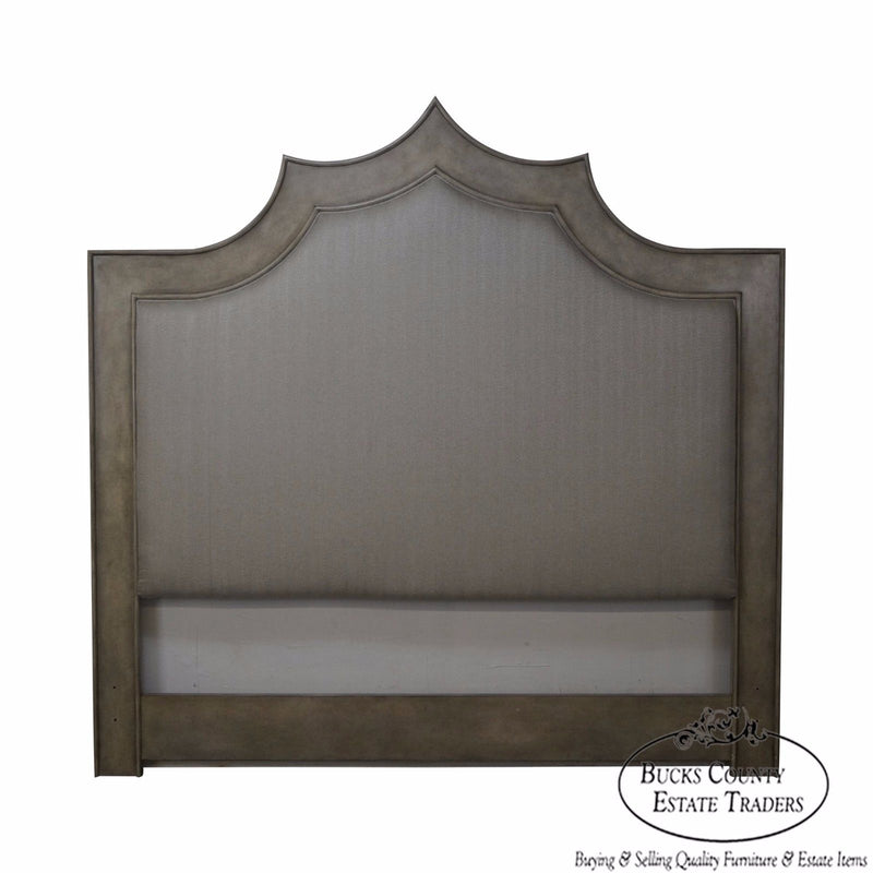 Jonathan Charles Pebble Grey Emperor King Upholstered High Back Headboard