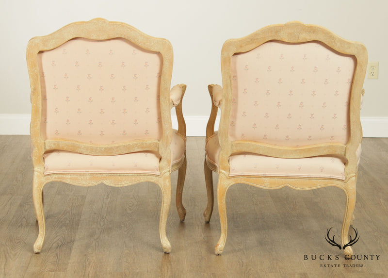 Schoonbeck French Louis XV Style Pair Crackle Painted Finish Fauteuil Armchair