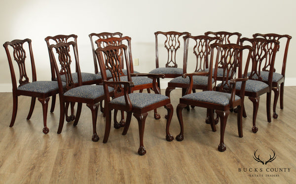 Councill Set 12 Solid Mahogany Chippendale Style Dining Chairs
