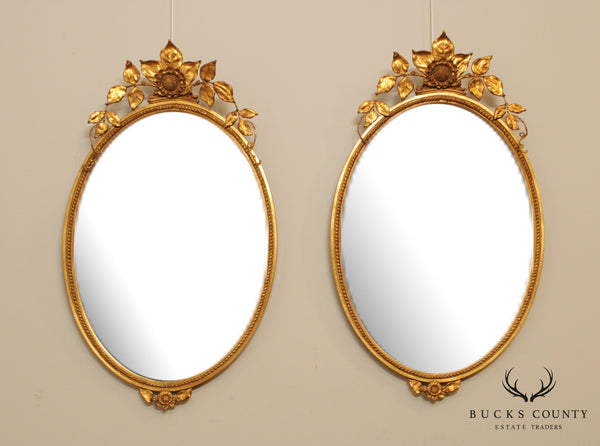 Gilt Frame Pair Sun Flower Oval Beveled Wall Mirrors
