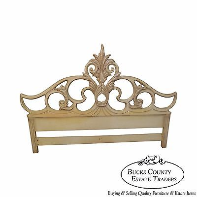 Vintage Hollywood Regency French Louis XV Style Painted King Size Bed Headboard