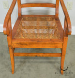 Anglo - Indian Regency Style Pair Cane Seat Armchairs with Stool