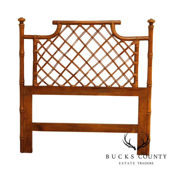 Vintage Faux Bamboo and Rattan Twin Headboard