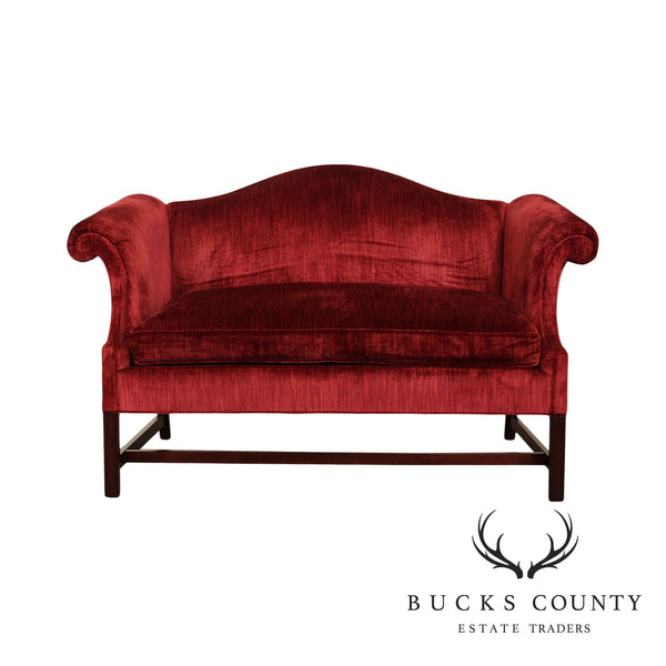 Hickory Chair Chippendale Style Mahogany Camelback Loveseat
