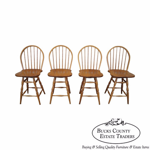 Quality Set of 4 Oak Windsor Bar Stools by Athol