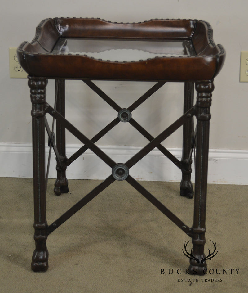 Regency Style Wrought Iron Leather & Glass Top Side Table