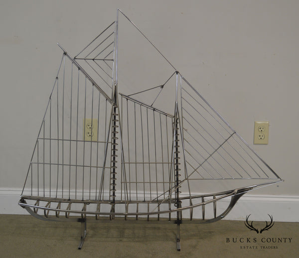 Curtis Jere Large Metal Sailboat Ship Sculpture