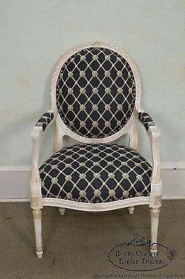 Councill French Louis XVI Style Paint Frame Fauteuil Arm Chair