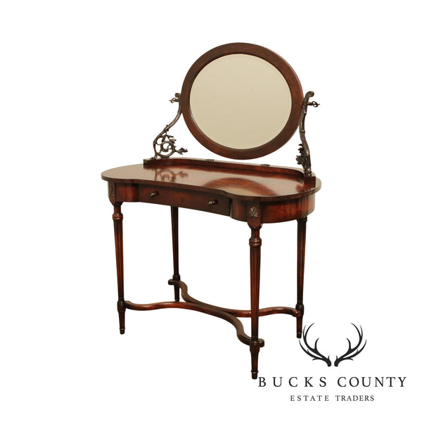 Theodore Alexander 'The Considered Gaze' French Louis XVI Style Burl Wood Dressing Table Vanity