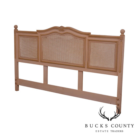 Vintage French Country Style Cream Painted Cane King Headboard