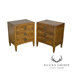 Guido Zichele for Bloomingdale's Louis XVI Style Pair 3 Drawer Chests Nightstands