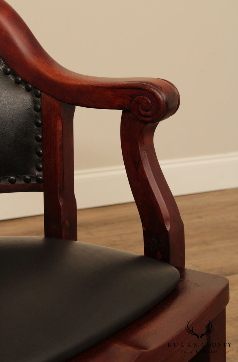 Hale Desk Company, Milwaukee Chair, Antique Walnut & Black Leather Pair Bank of England Armchairs