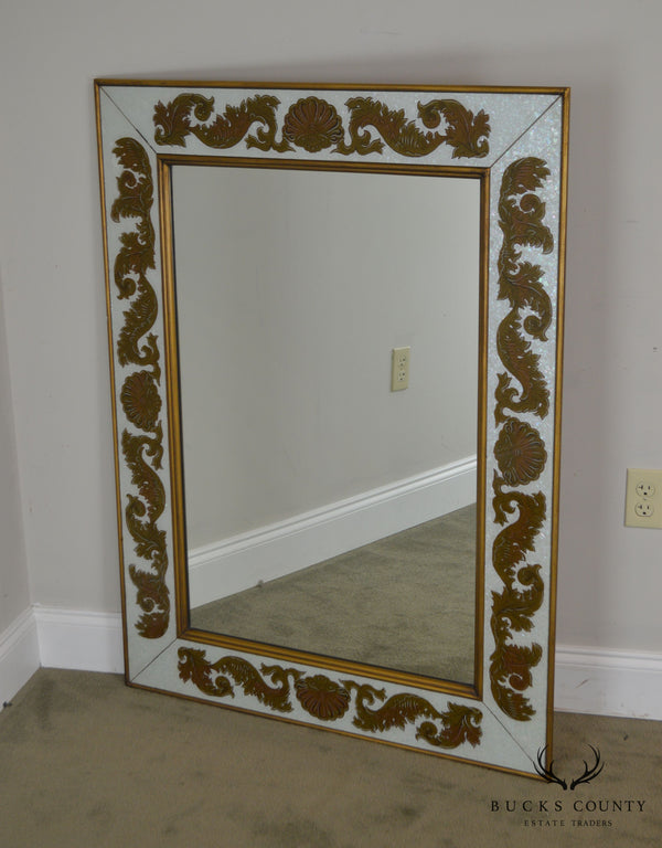 1950's Hollywood Regency Vintage Italian Eglomise Wall Mirror