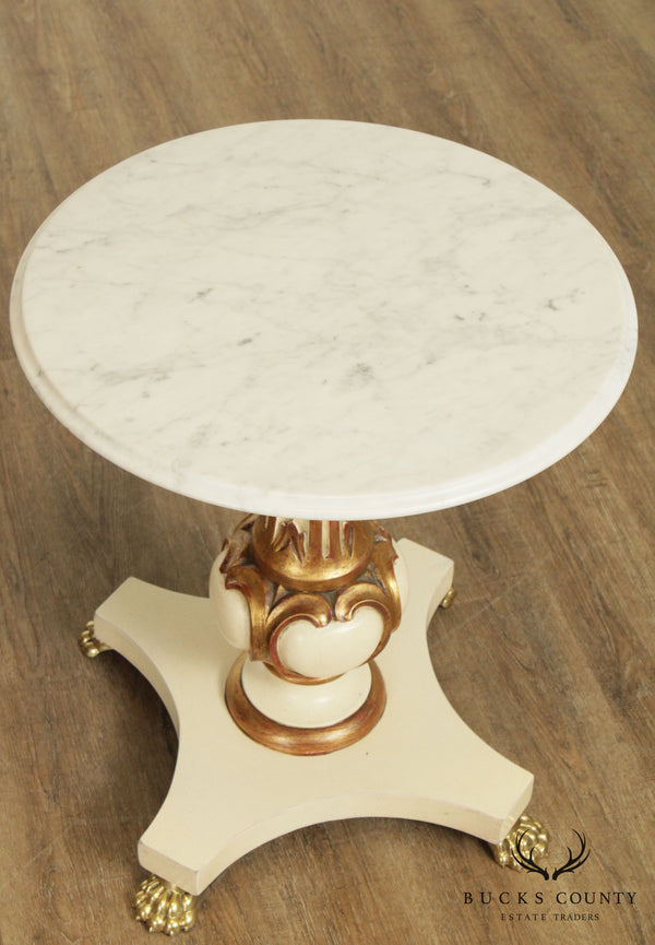 Vintage Italian Partial Gilt Painted Round Marble Top Side Table