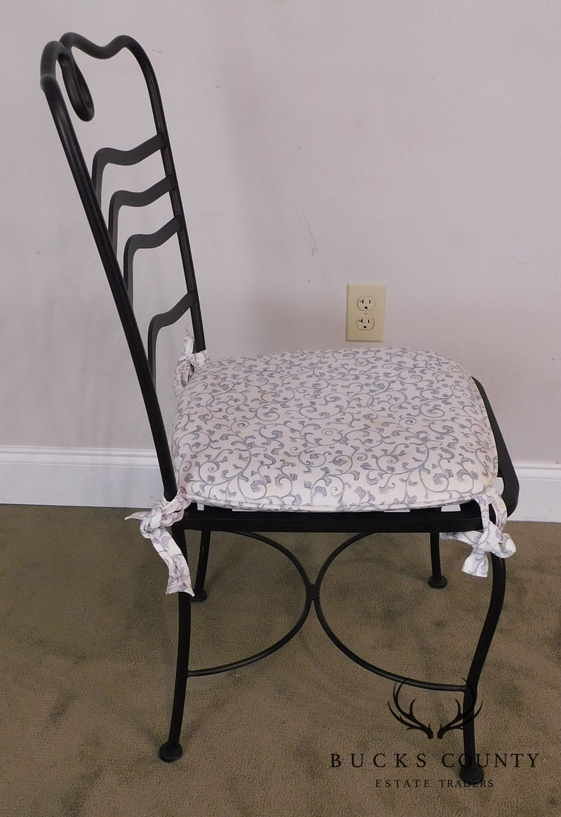 Wrought Iron Quality Pair of Side Chairs