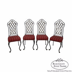 Custom Quality Set of 4 Wrought Iron Dining Chairs
