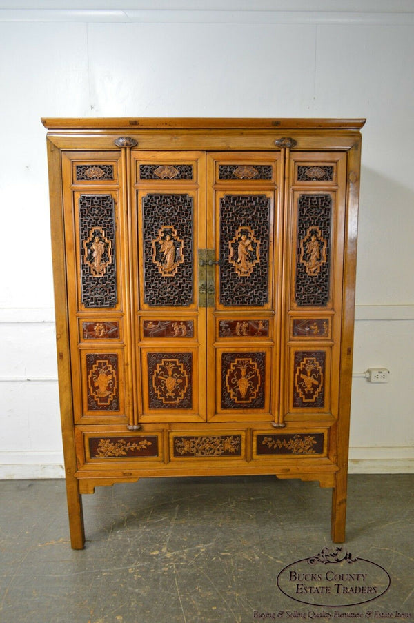 Antique Asian Chinese Hardwood Large 4-Door Cabinet