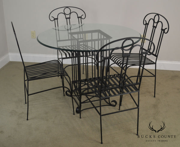 Wrought Iron Dining Table + 4 Chairs Set