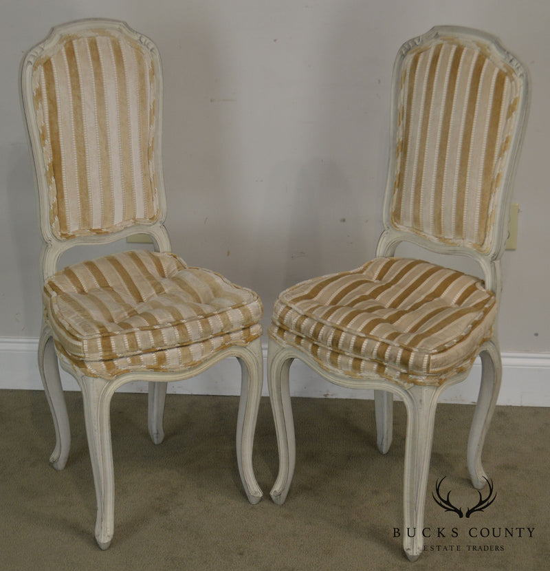 French Louis XV Style Vintage Painted Pair Petite Slipper Side Chairs