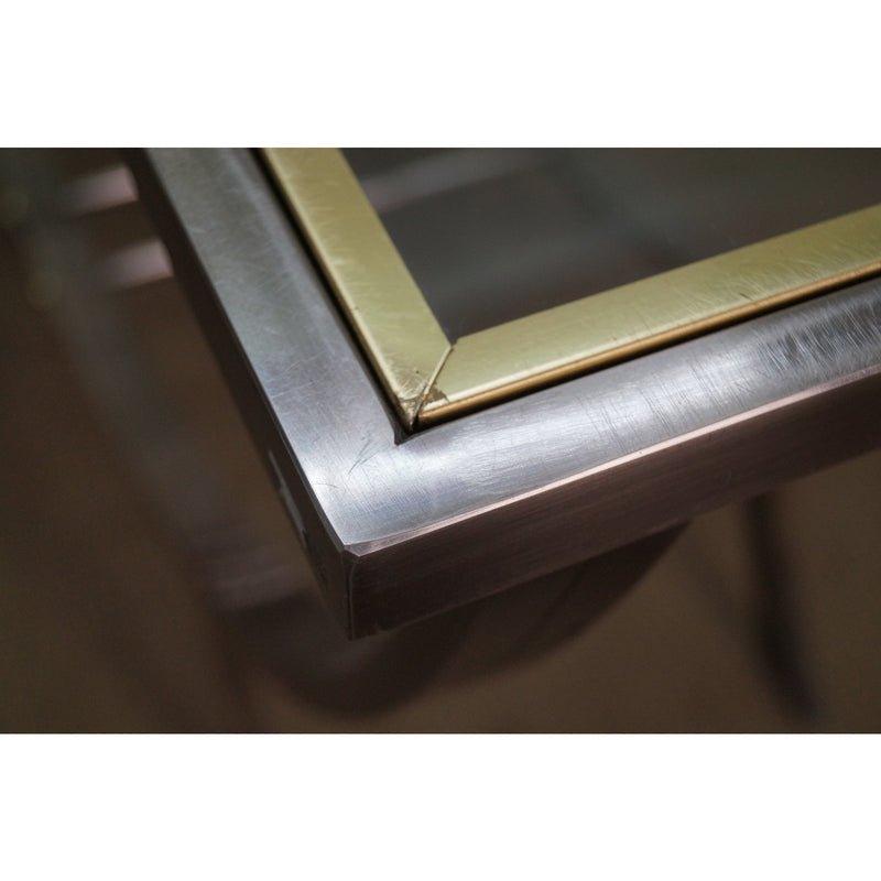 DIA Design Institute of America Brushed Metal Brass & Glass Console Table