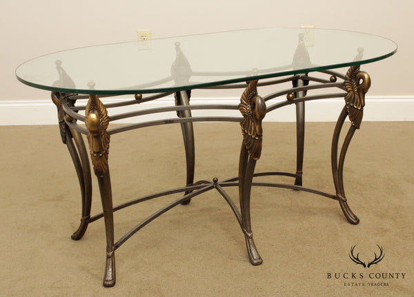 Wrought Iron French Regency Style Swan Oval Glass Top Coffee Table
