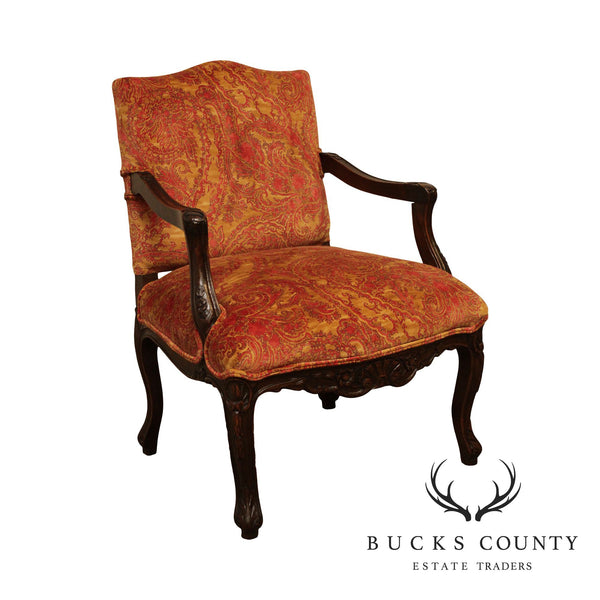Italian Carved Custom Upholstered Armchair