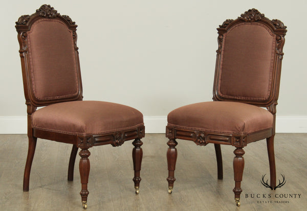 Renaissance Revival Antique Pair Carved Walnut, Custom Upholstered Side Chairs