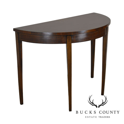 Federal Style Custom Quality Mahogany Inlaid Demilune Console Table (B)