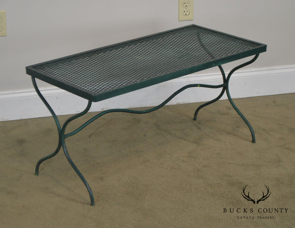 Salterini Vintage Expanded Metal X-Base Wrought Iron Patio Coffee Table