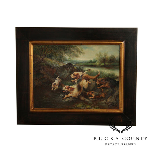 Timeless Treasures Framed Oil Painting of Hunting Dogs