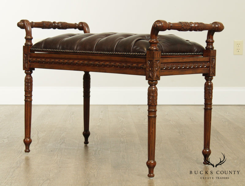 Maitland Smith Louis XVI Style Tufted Leather Seat Hand Carved Bench