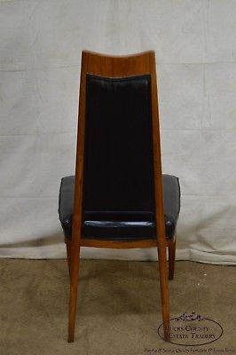 Klismos Style Set of 6 Solid Walnut Mid-Century Dining Chairs