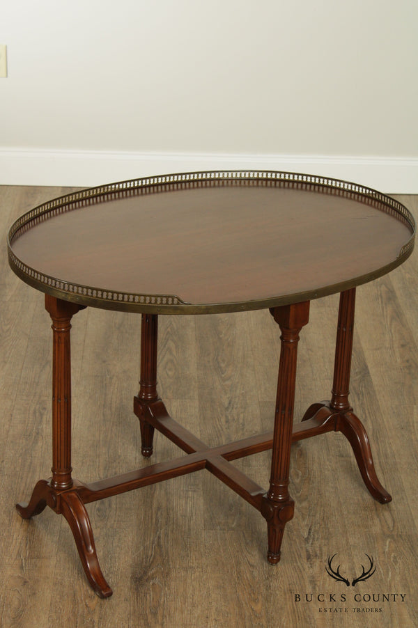 French Louis XVI Style Oval Walnut Bouillotte Table