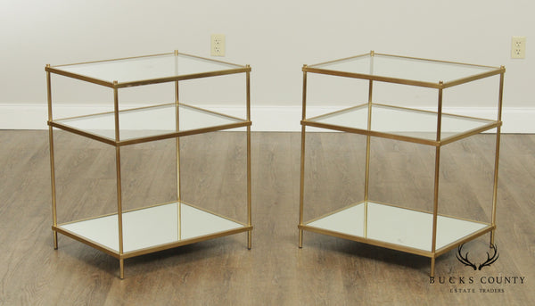 West Elm 'Terrace Nightstand' Pair 3 Tier Antique Brass Side Tables