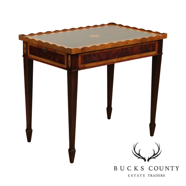 Hekman Federal Style Mahogany and Yew Wood Inlaid Tea Table
