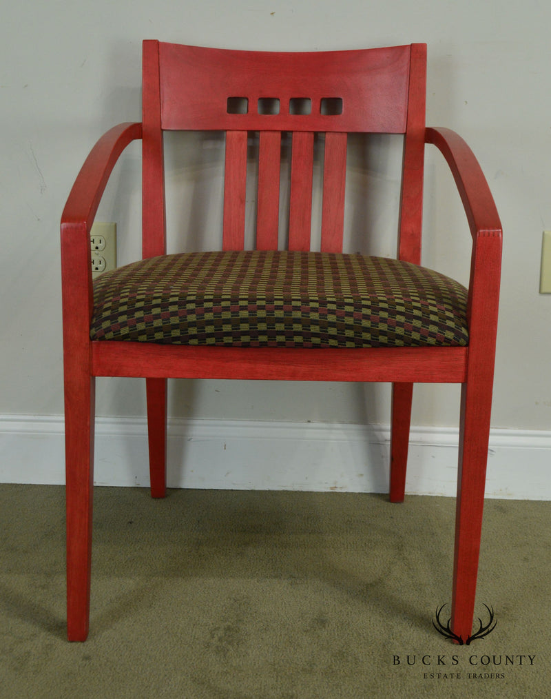 Knoll Upholstered Modern Design Red Armchair