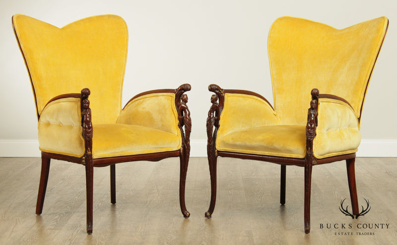 Hollywood Regency Mid Century Mahogany Figural Carved Pair Fireside Chairs