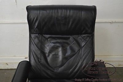 Kebe Black Leather Mid-Century Modern Style Swivel Reclining Lounge Chair